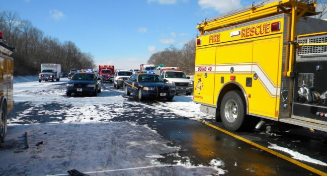 State Police said there was no sign of snow a mile on either side of the white out that caused Wednesday's massive pile-up.