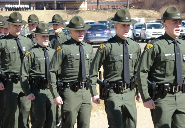 Nineteen new State Police Troopers represent the 63rd Cadet Class of the West Virginia State Police. They marched into Friday's ceremony at West Virginia State University.