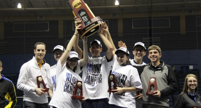 Members of the WVU Rifle team celebrate a back to back NCAA Championships