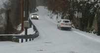 Louden Heights Road in Charleston was snow covered and slippery Monday morning.
