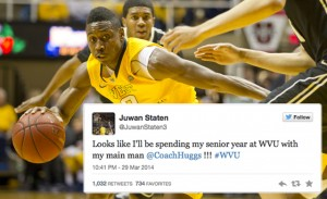 Juwan Staten announced late Saturday night via Twitter his plans to forgo the NBA draft and play his senior season at West Virginia.