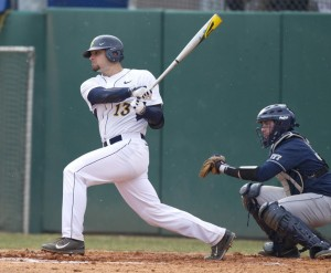 West Virginia's Ryan McBroom had three hits in a 6-3 victory over Pittsburgh in the Mountaineers' home opener in Morgantown.