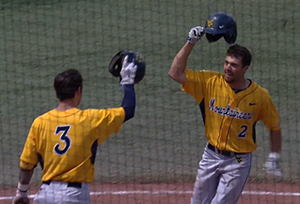Michael Constantini (2) celebrates his first college homer, a solo shot during West Virginia's 9-5 win at Oklahoma.