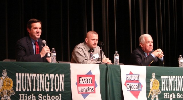 State Senator Evans Jenkins, Democratic candidate Richard Ojeda and Congressman Nick Rahall (left to right) answered questions from Huntington High seniors Wednesday.