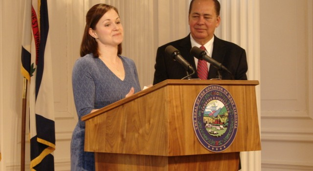 Becky Poling of the Military Spouse and WV Commission on Military Spousal Licensure thanked Gov. Earl Ray Tomblin during Wednesday's ceremony.