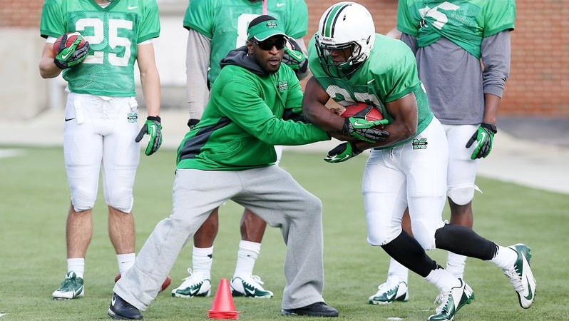 Former ACC player of the year Chris Barclay is working as Marshall's new running backs coach.