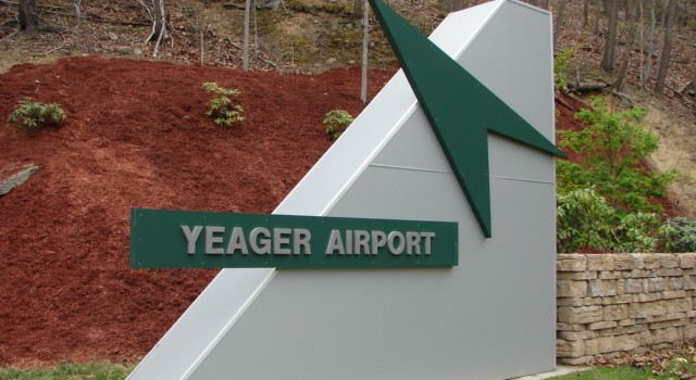 Students from Glenville State College helped beautify the entrance at Yeager Airport on Earth Day Tuesday.