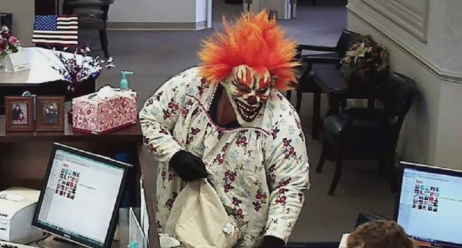 Surveillance photo of the clown who robbed bank in Hardy County Wednesday.