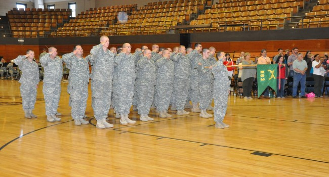 Members of the Glen Jeane-based 863rd Military Police Company stood at attention Saturday as part of a send-off ceremony.
