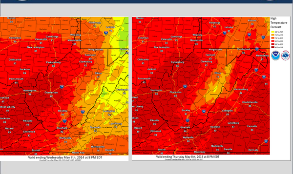 The National Weather Service released these maps Tuesday of high temperatures predicted for this week.
