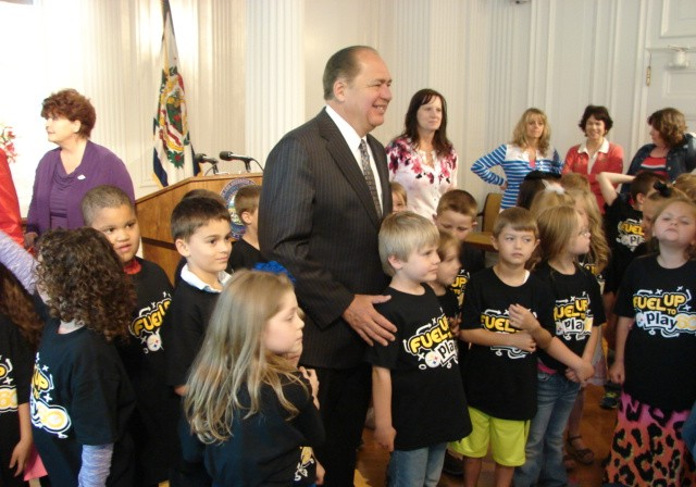 Gov. Earl Ray Tomblin was having a good time with kids from Lakewood Elementary Friday at the state capitol.