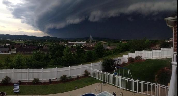 This photo snapped by Ray Frye of Proctorville, Ohio looking across the river into Huntington shows the force with which Tuesday night's storm was moving into West Virginia.