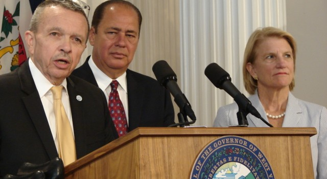 West Virginia Coal Association President Bill Raney (left), Gov. Earl Ray Tomblin and Congresswoman Shelley Moore Capito all responded to the proposed EPA rules Monday at the state capitol.