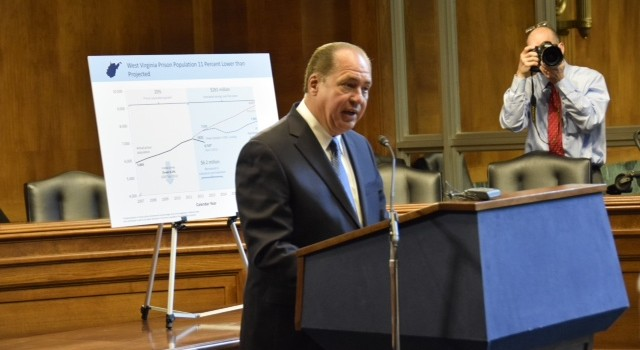 Gov. Earl Ray Tomblin touted the success of the Justice Reinvestment Act.