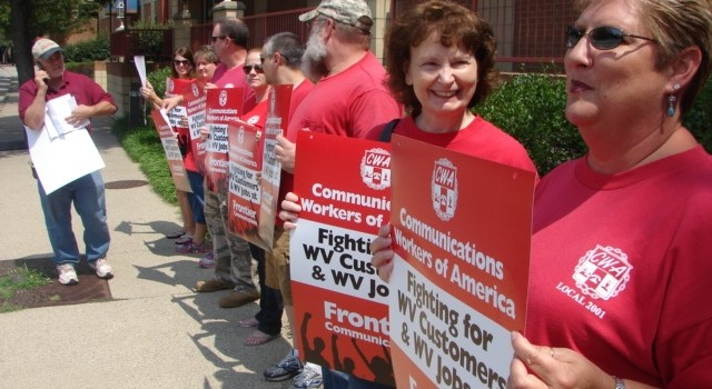 Members of the Communication Workers of America have been working under an extended contract for nearly a year. They held a honk and wave event last Wednesday in Charleston.