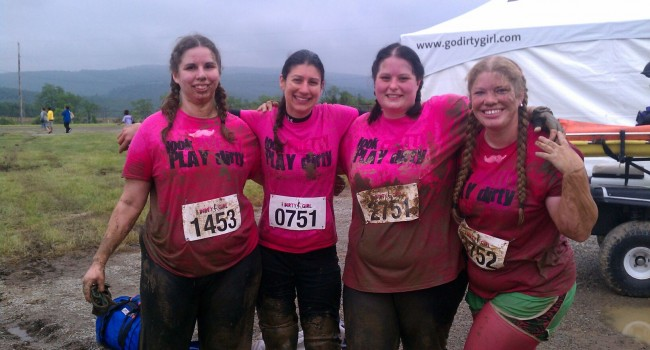 Fairmont attorney Robyn Danford, third from left, enjoyed the Dirty Girl Mud Run she   was part of in Pennsylvania. She was looking forward to another run Saturday in Charleston.