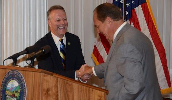 Gov. Earl Ray Tomblin, right, welcomed new state School Superintendent Michael Martirano to the state capitol Tuesday.