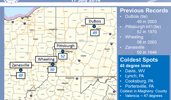 National Weather Service in Pittsburgh produced the following graphic Thursday.