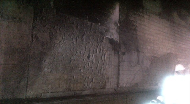 Part of the damage in the northbound tunnel that will have to be repaired.