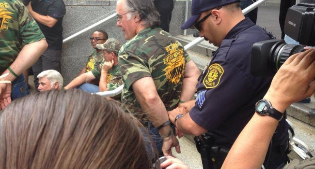Fourteen UMWA members were arrested during Thursday's rally and march against the EPA's proposed Clean Power Act in Pittsburgh.