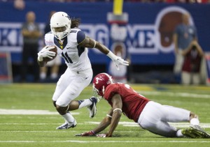 West Virginia receiver Kevin White gave Alabama cornerback Brandon Sylve fits during the season opener.