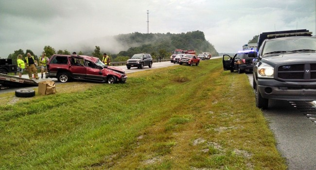 Authorities in Roane County on the scene of accident near Amma which resulted in discovery of chickens, guns, and IED's.