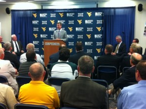 Frank Coonelly, presidnt of the Pittsburgh Pirates, speaks Monday during a news conference announcing the relocation of a Single-A franchise to Morgantown in 2015.