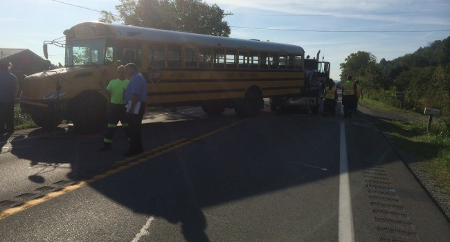 This Mason County school bus was rear-ended on U.S. Route 35 Tuesday morning. Nine students were taken to the hospital.