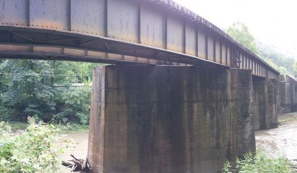Three people were caught on this railroad bridge near the Roderfield Tunnel Thursday night when a Norfolk Southern train came through.