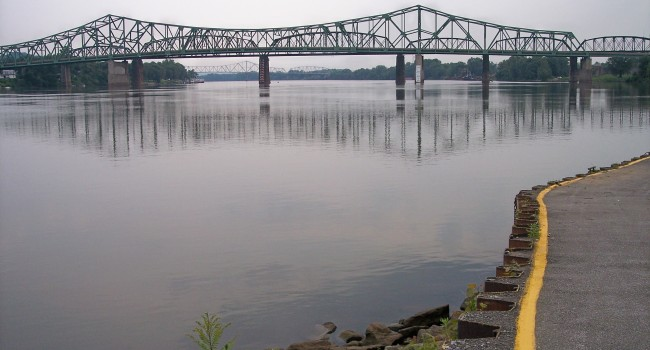 The Parkersburg Memorial Bridge spans the Ohio River and connects Parkersburg with Belpre, Ohio.