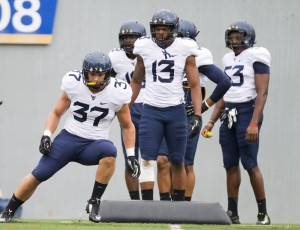 West Virginia fifth-year senior Wes Tonkery (37) was listed as the starter at Sam linebacker on Monday afternoon.