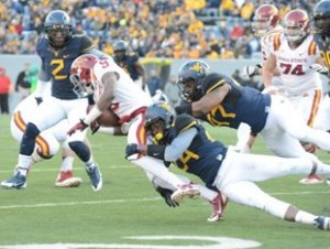 West Virginia sophomore safety Jeremy Tyler (24) starred at MLK High School in Lithonia, Ga., about a 20-minute drive from the Georgia Dome.