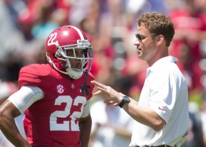 How Alabama offensive coordinator Lane Kiffin utilizes receivers like Christion Jones (22) and a stable of running backs is a point of intrigue before the season opener against West Virginia.