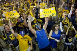 West Virginia fans enjoy pregame cheering at the Georgia Dome on Saturday.