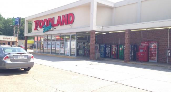 Foodland store in Kanawha City where a store clerk was shot Thursday night.