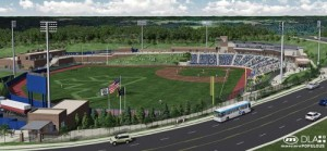A rendering of the Morgantown ballpark scheduled to host a relocated Single-A team in 2015.