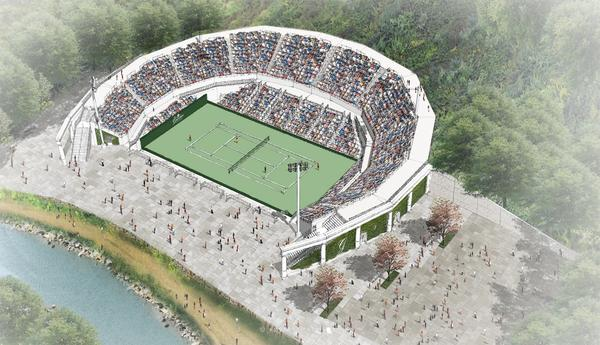 An artist's rendering of Center Court at Creekside.