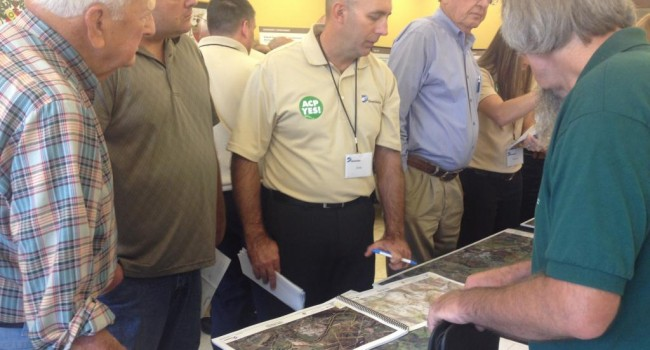 Dominion project officials entertain questions from residents in Upshur County about a 550-mile pipeline that will be installed to transport natural gas.