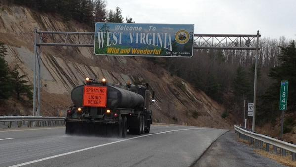 DOH truck was placing brine down on Interstate 64 near White Sulphur Springs Tuesday afternoon in preparation for Wednesday snow.