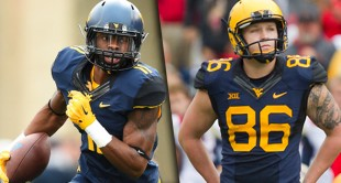 West Virginia receiver Kevin White is one of three finalists for the Biletnikoff Award and sophomore kicker Josh Lambert is on the short list for the Lou Groza.