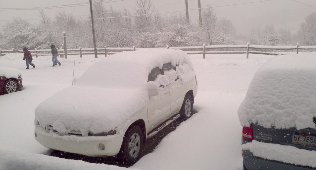 Snow piled in Tucker County Wednesday morning like it did in other eastern mountain counties in WV.
