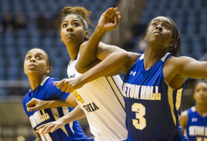 West Virginia's Kayla Montgomery, shown in early season action, dominated Marshall for 15 points, 14 rebounds, six blocks and three steals..
