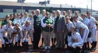 Marshall president Stephen Kopp, center, was a permanent fixture at MU softball games.