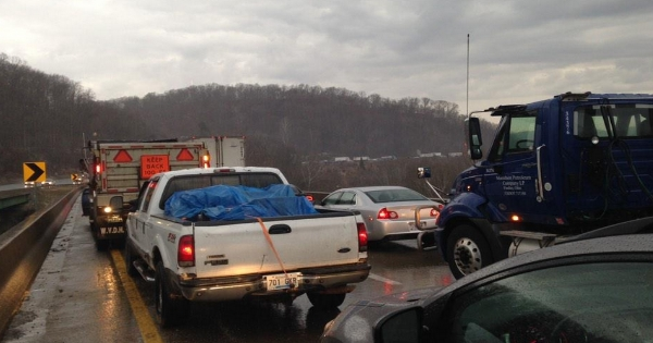 A section of I-64 in Huntington was closed for a while Thursday when freezing rain iced up interstate.
