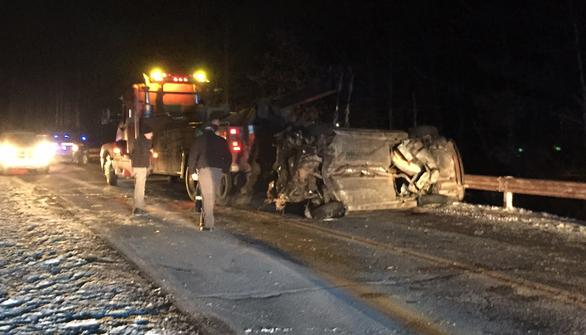 Police say state Route 16 was icy when a 17-year-old driver lost control Saturday morning.