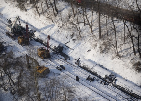 Response crews for the West Virginia train derailment continue to monitor the burning of the derailed rail cars near Mount Carbon.