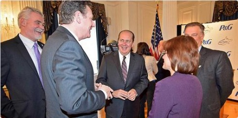 Gov. Earl Ray Tomblin was all smiles with Berkeley County officials Tuesday in announcing P&G plant project.