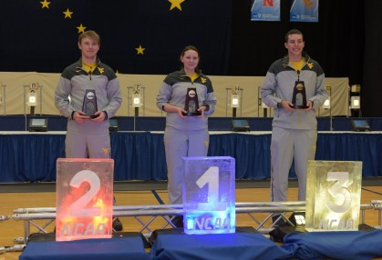 WVU Shooters Maren Prediger, Michael Bamsey, and Garrett Spurgeon placed 1, 2, and 3 respectively in the air rifle competitoin to carry WVU to a third national title.