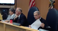 The Harrison County Commission listens to an overview of the water line extension project