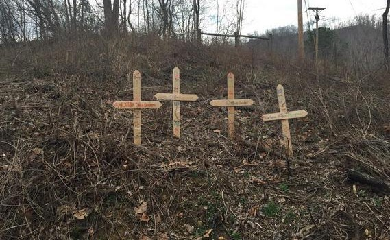 These four crosses are along U.S. Route 119 in Danville where the crash took place last September.